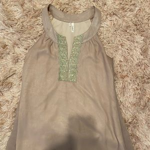 Tan and jeweled boat neck top